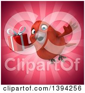 Clipart Of A 3d Red Bird Holding A Gift On A Pink Background Royalty Free Illustration