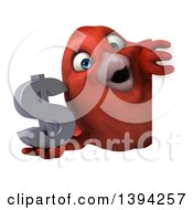Clipart Of A 3d Red Bird Holding A Dollar Currency Symbol On A White Background Royalty Free Illustration
