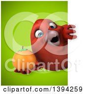 Clipart Of A 3d Red Bird Holding An Orange On A Green Background Royalty Free Illustration