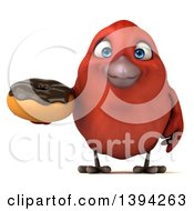 Clipart Of A 3d Red Bird Holding A Donut On A White Background Royalty Free Illustration