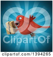 Clipart Of A 3d Red Bird Holding Boxes On A Blue Background Royalty Free Illustration