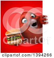 Clipart Of A 3d Red Bird Holding A Double Cheeseburger On A Red Background Royalty Free Illustration