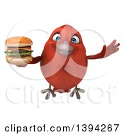 Clipart Of A 3d Red Bird Holding A Double Cheeseburger On A White Background Royalty Free Illustration
