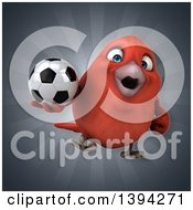 Clipart Of A 3d Red Bird Holding A Soccer Ball On A Gray Background Royalty Free Illustration