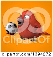 Clipart Of A 3d Red Bird Holding A Soccer Ball On An Orange Background Royalty Free Illustration