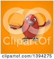 Clipart Of A 3d Red Bird Holding A Hot Dog On An Orange Background Royalty Free Illustration