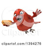 Clipart Of A 3d Red Bird Holding A Hot Dog On A White Background Royalty Free Illustration