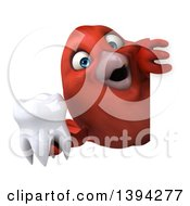 Clipart Of A 3d Red Bird Holding A Tooth On A White Background Royalty Free Illustration