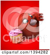 Clipart Of A 3d Red Bird Holding A Cupcake On A Red Background Royalty Free Illustration