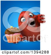 Clipart Of A 3d Red Bird Holding A Cupcake On A Blue Background Royalty Free Illustration