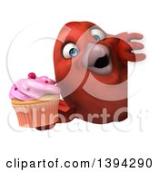 Clipart Of A 3d Red Bird Holding A Cupcake On A White Background Royalty Free Illustration