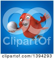 Clipart Of A 3d Red Bird Holding A Golf Ball On A Blue Background Royalty Free Illustration