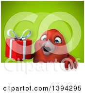 Clipart Of A 3d Red Bird Holding A Gift On A Green Background Royalty Free Illustration