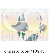 Trees On Islands And A Dock On A Lake At Dawn Clipart Illustration