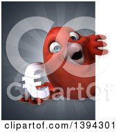 Clipart Of A 3d Red Bird Holding A Euro Currency Symbol On A Gray Background Royalty Free Illustration