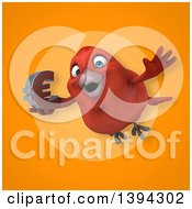 Clipart Of A 3d Red Bird Holding A Euro Currency Symbol On An Orange Background Royalty Free Illustration