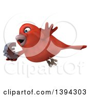 Clipart Of A 3d Red Bird Holding A Euro Currency Symbol On A White Background Royalty Free Illustration