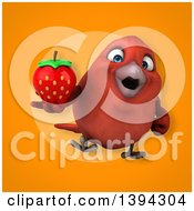 Clipart Of A 3d Red Bird Holding A Strawberry On An Orange Background Royalty Free Illustration