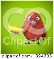 Clipart Of A 3d Red Bird Holding A Banana On A Green Background Royalty Free Illustration