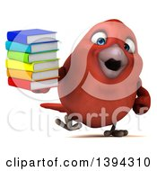 Clipart Of A 3d Red Bird Holding A Stack Of Books On A White Background Royalty Free Illustration