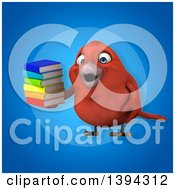Clipart Of A 3d Red Bird Holding A Stack Of Books On A Blue Background Royalty Free Illustration