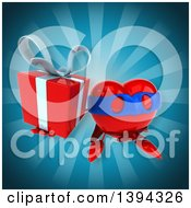 Clipart Of A 3d Heart Super Hero Character Holding A Gift On A Blue Background Royalty Free Illustration