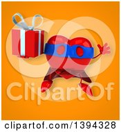 Clipart Of A 3d Heart Super Hero Character Holding A Gift On An Orange Background Royalty Free Illustration