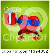 Clipart Of A 3d Heart Super Hero Character Holding A Gift On A Green Background Royalty Free Illustration
