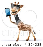 Poster, Art Print Of 3d Business Giraffe Wearing Sunglasses And Talking On A Smart Phone On A White Background