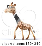 Poster, Art Print Of 3d Business Giraffe Wearing Glasses On A White Background