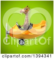 Poster, Art Print Of 3d Giraffe Flying An Airplane On A Green Background