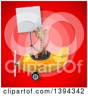 Poster, Art Print Of 3d Giraffe Flying An Airplane On A Red Background
