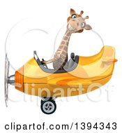 Poster, Art Print Of 3d Giraffe Flying An Airplane On A White Background