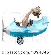 Clipart Of A 3d Giraffe Flying An Airplane On A White Background On A White Background Royalty Free Illustration