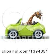Poster, Art Print Of 3d Giraffe Driving A Convertible Car On A White Background