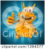 Clipart Of A 3d Yellow Germ Virus On A Blue Background Royalty Free Illustration