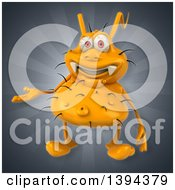 Clipart Of A 3d Yellow Germ Virus On A Gray Background Royalty Free Illustration by Julos