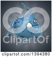 Clipart Of A 3d Blue Germ Virus Monster On A Gray Background Royalty Free Illustration