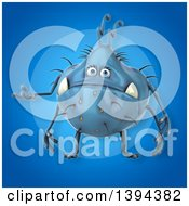 Clipart Of A 3d Blue Germ Virus Monster On A Blue Background Royalty Free Illustration