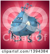 Clipart Of A 3d Blue Germ Virus Monster On A Pink Background Royalty Free Illustration