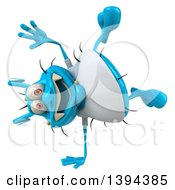 Clipart Of A 3d Blue Germ Virus Wearing A White T Shirt And Cartwheeling On A White Background Royalty Free Illustration