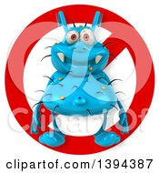 Clipart Of A 3d Blue Germ Virus Monster Over A Restricted Symbol On A White Background Royalty Free Illustration