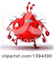 Clipart Of A 3d Red Germ Virus Running On A White Background Royalty Free Illustration