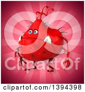 Clipart Of A 3d Red Germ Virus On A Pink Background Royalty Free Illustration