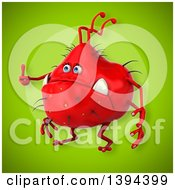 Clipart Of A 3d Red Germ Virus On A Green Background Royalty Free Illustration