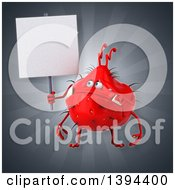 Clipart Of A 3d Red Germ Virus On A Gray Background Royalty Free Illustration