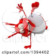 Clipart Of A 3d Casual Red Germ Virus On A White Background Royalty Free Illustration
