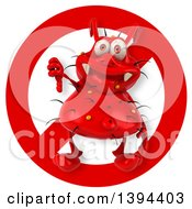 Clipart Of A 3d Red Germ Virus Over A Restricted Symbol On A White Background Royalty Free Illustration