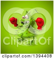 Clipart Of A 3d Green Germ Virus Boxer On A Green Background Royalty Free Illustration