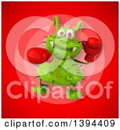 Clipart Of A 3d Green Germ Virus Boxer On A Red Background Royalty Free Illustration